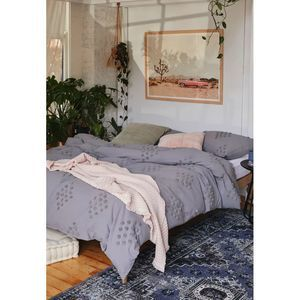 Urban Outfitters Tufted Dot Duvet Cover King GRAY